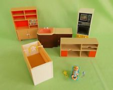 Tomy vintage DOLLHOUSE FURNITURE WITH BABY 1970s
