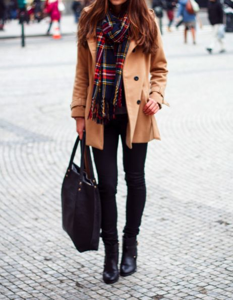 Love the khaki coat and #blackboots and the colourful #scarf
