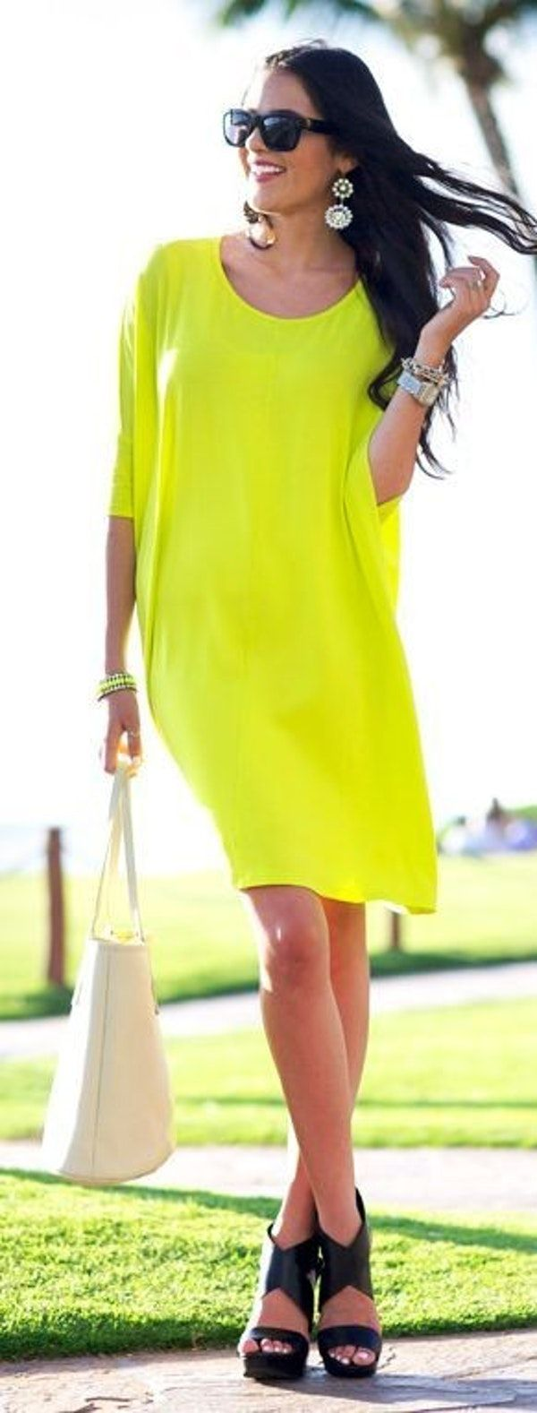 Neon Yellow Dress |Pink Peonies
