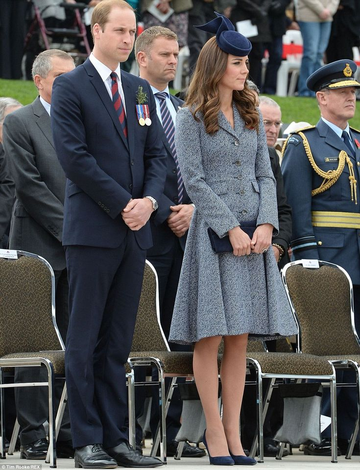 Respectful: William and Kate stood for the arrival of Governor General Sir Peter Cosgrove and wife Lynne Cosgrove, who stepped from their car