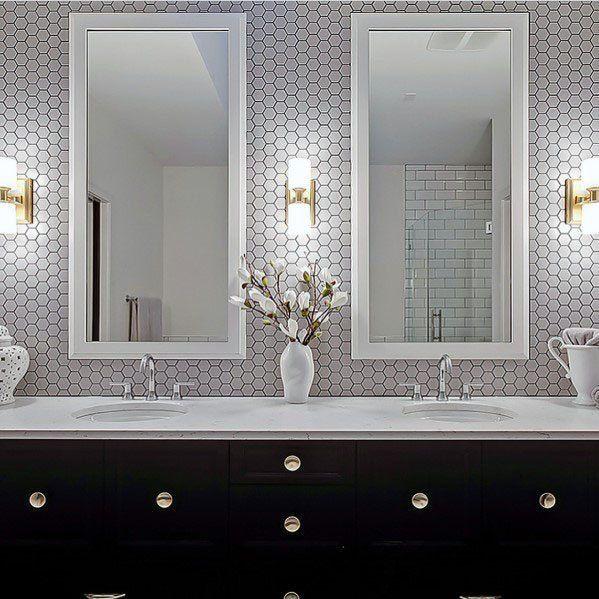 White Hexagon Tiles With Grey Grout Bathroom Vanity Backsplash