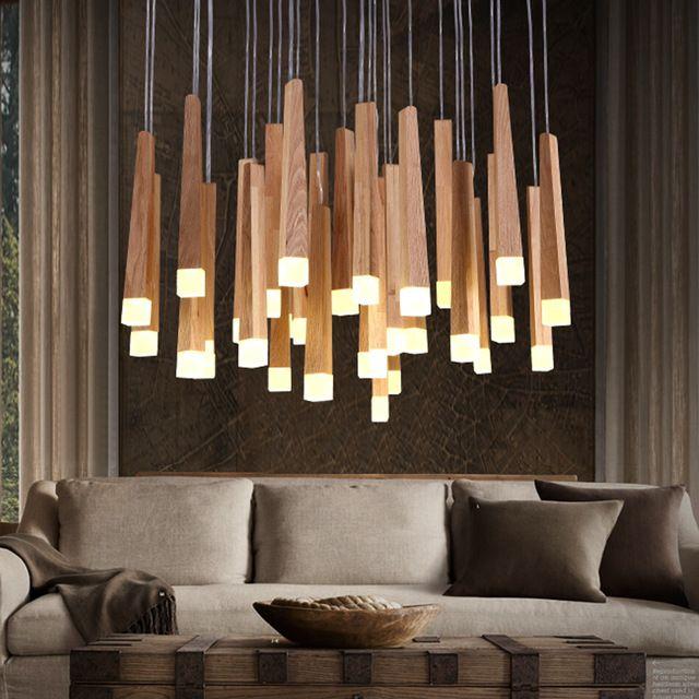 Vintage Opknoping hanglampen Hout Suspension Verlichtingsarmaturen Moderne lustres de led Binnenverlichting Home Deco Armatuur Lampen