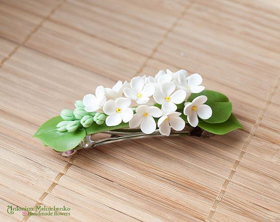 Barrette White Lilac Syringa - Polymer Clay Flowers - Mothers Day Gift for Women White Lilac Gift For Her Flower Barrette Lilac White Flower
