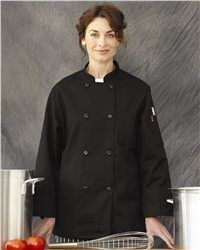 Chef Designs - Black Traditional Chef Coat - KT76  View Size Specification  Catalog Page: 524  Bring a generous helping of comfort and style to the kitchen with a coat made for creativity and speed.        7.5 oz., 65/35 polyester/cotton      Soil release finish      Double-breasted, with eight black pearl buttons      Left chest pocket      Vented cuffs      Thermometer pocket on left sleeve