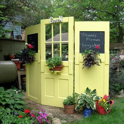 Folding Screen   Salvaged Doors Hinged Together To Create A Privacy Pocket,  Nice For A Work Zone, And The Window Allows The Gardener To Keep An Eye On  ...