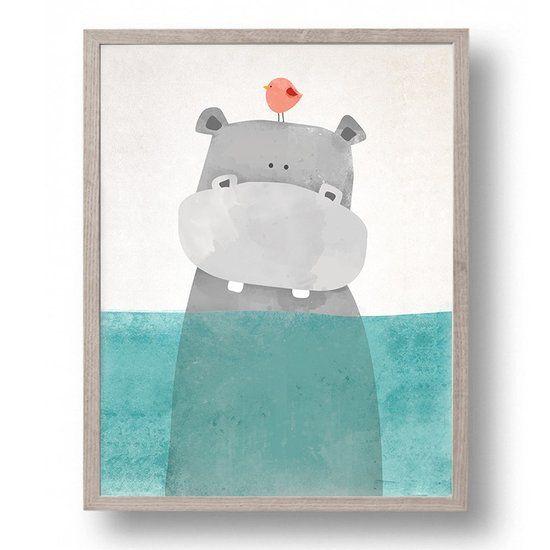 Ditto - Design Canvas Poster Nijlpaard met Vogeltje / Kinderkamer / Muurdecoratie / 40 x 30cm / A3