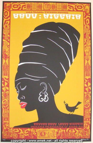 2008 Erykah Badu - Lagos Silkscreen Concert Poster by Emek