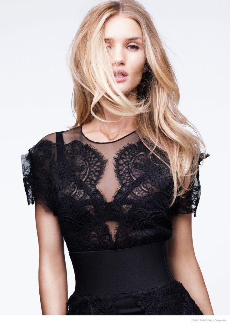 Rosie Huntington Whiteley Models Lace & Sheer Looks for Vogue Turkey by Horst Diekgerdes