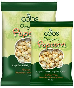 Cobs Organic Popcorn Lightly Salted, Slightly Sweet - 496kj per serve (25g)