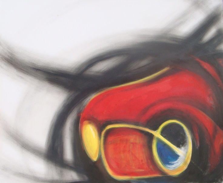 """""""la rossa"""" olio su tela 100x100 autrice:Roberta Scalfo #itesoricoloniali #quadri #tela #olio #dipinti #reggioemilia"""