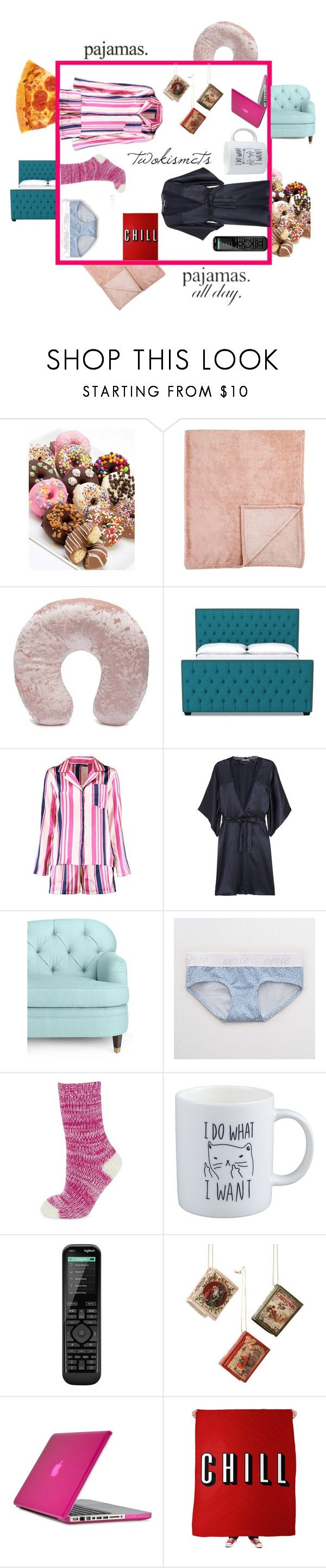 """#mypajamaday"" by twokismets ❤ liked on Polyvore featuring Chocolate Covered Company, Forever 21, STELLA McCARTNEY, Kate Spade, Aerie, HUE, Logitech, Speck, twokismets and LovelyLoungewear"