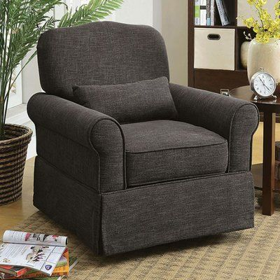 Darby Home Co Bernon Transitional Glider Chair with Cushion Fabric: Dark Gray