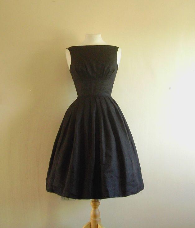 Schwarze Leinen Tiffany Party Dress