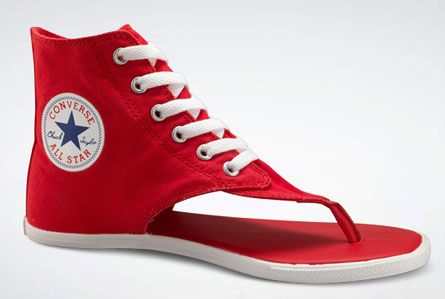 These shoes were actually really invented: Converse high-top sandals. Odd and I have a difficult time imagining them in a desirable outfit on a man or woman.