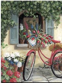 Her Red Bike - Her Red Bike Romantic Print ( Giclee ) by Mary Kay Crowley from Cottages and Gardens