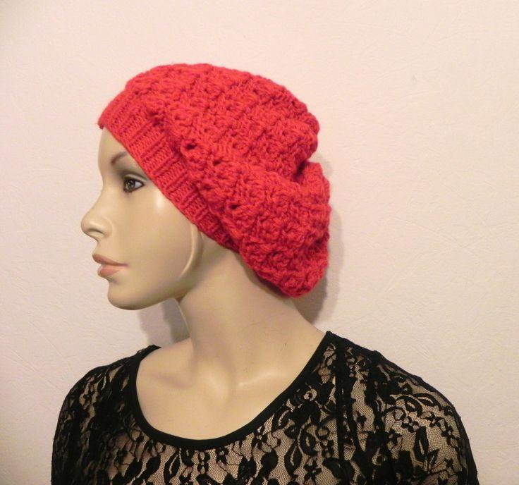 bonnet laine tricoté main rouge mode femme accessoires chapeau hiver : Chapeau, bonnet par yolande