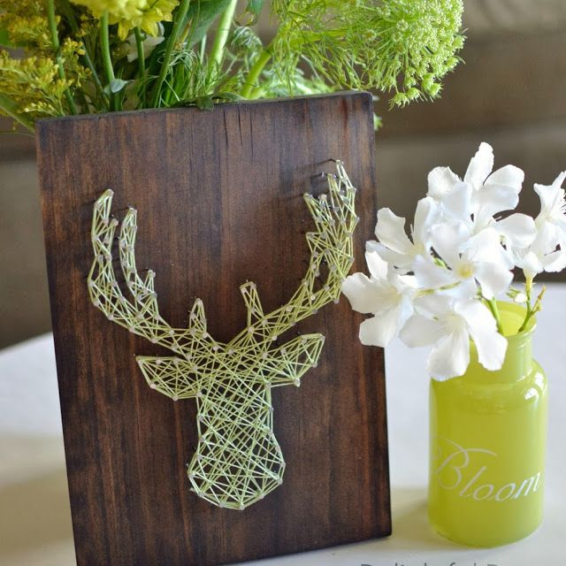 DIY deer with antlers String Art tutorial. I love this as a cool unique and special DIY for my husband! I think I'll even make one for a friend who's a big hunter. It's simple and fun and you can't do it wrong it's so easy. Love it.