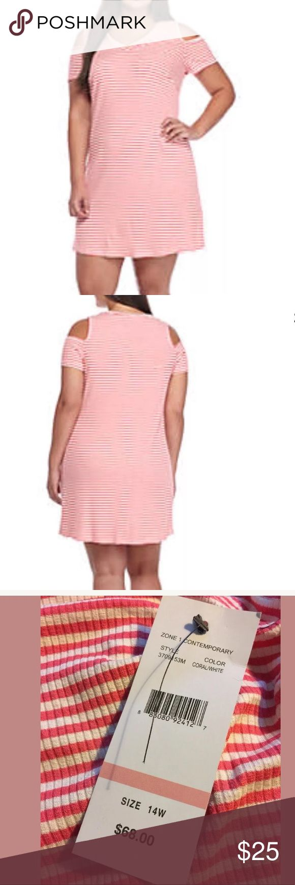 Cold Shoulder Stretch Trapeze Dress Plus Size 14W Cold Shoulder Stretch Trapeze Dress Plus Size 14W Coral White Stripe RV $68 You'll feel dainty and chic all weekend long in this trend-savvy dress! Designed with a flattering trapeze silhouette, this standout selection is the ideal pick for backyard BBQs and summertime strolls in sunny weather. 36.5-in. L Pullover V-neck Short cold shoulder sleeves Unlined Machine washable Rayon/RayonBlend Smoke free home Chetta B Dresses