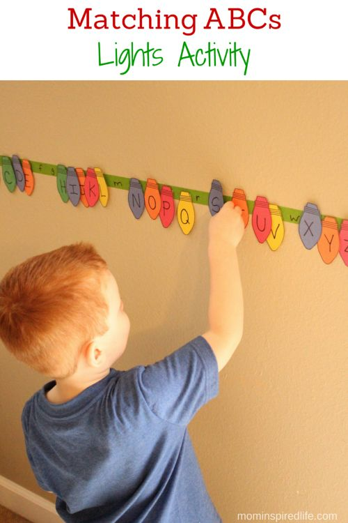 What if I do this with various season shapes?   Matching ABCs Christmas Lights Activity for Preschoolers