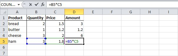 By default, Excel uses relative reference. For example, cell D2 references (points to) cell B2 and cell C2. Now, select cell D2, click on the lower right corner of cell D2 and drag it down to cell D5. Cell D3 references cell B3 and cell C3. Cell D4 references cell B4 and cell C4. Cell D5 references cell B5 and cell C5. In other words: each cell references its two neighbors on the left.