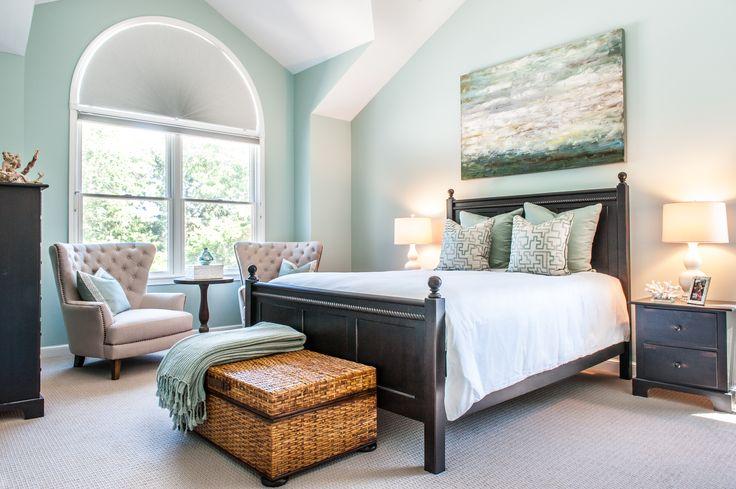 Master bedroom seafoam green abstract art above bed - Master bedroom art above bed ...