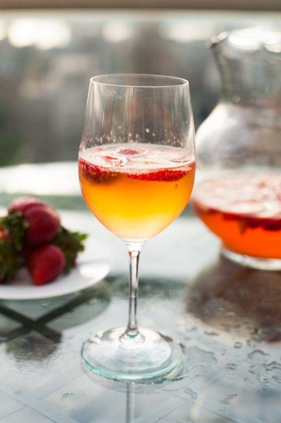 Strawberry White Wine Punch Recipe 1 lb. (about 1 quart) fresh strawberries,  1/2 c. sugar,  1 bottle white wine,  1/2 c. Marie-Framboise cognac or kirsch,  1 bottle sparkling white wine