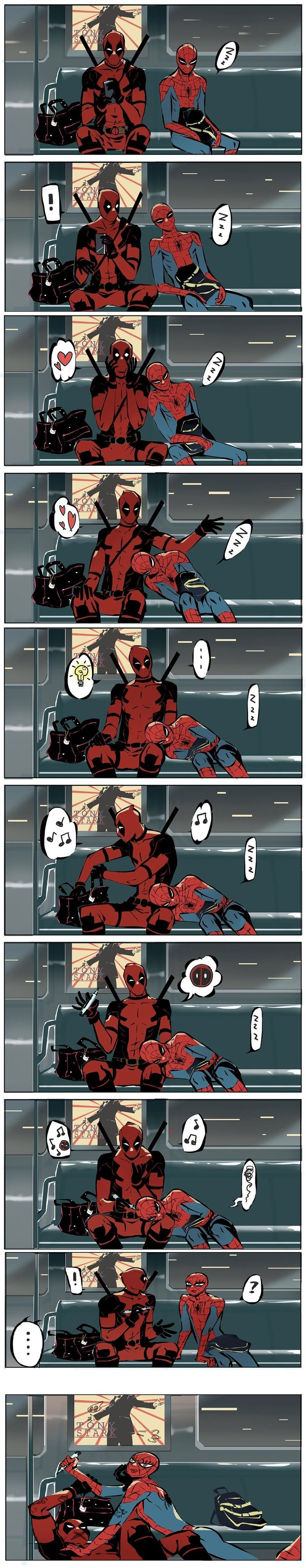 Let me tell ya... If spider man fell asleep in Deadpool's lap then Deadpool sure wouldn't be drawing on his face. Hehehe!!!
