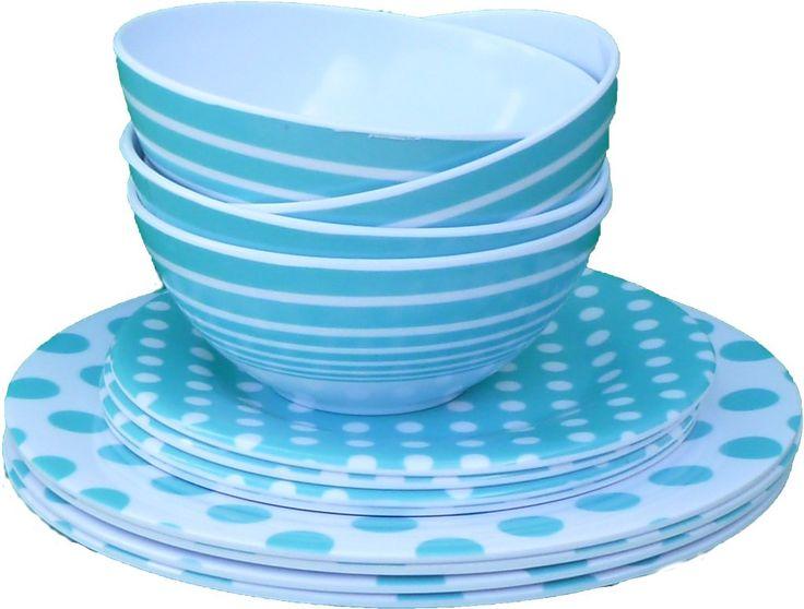 Wholesale 3 Piece Melamine Dinnerware Set - Sky Blue (Case of 72)