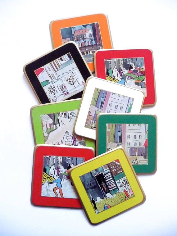 Vintage Sheraton Coaster Set Paris Art Coasters