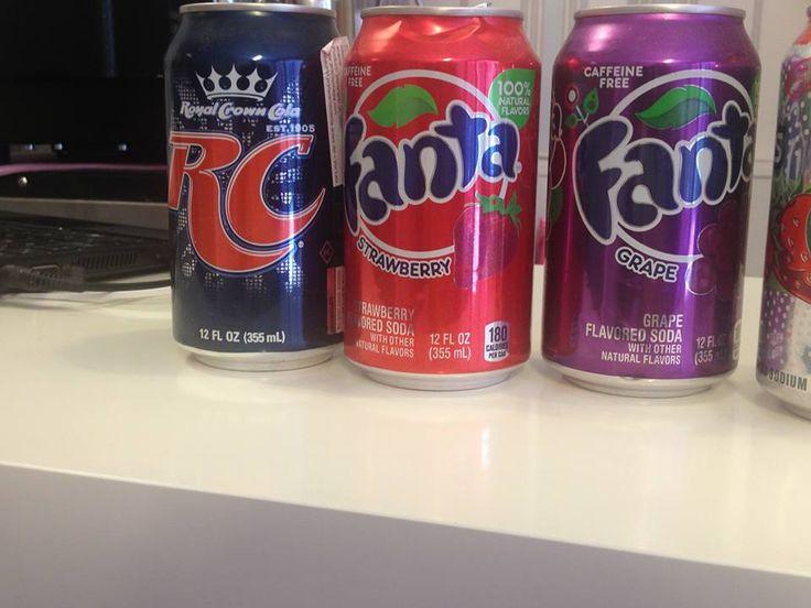 Royal Crown Cola, Fanta de fresa y Fanta de uva.