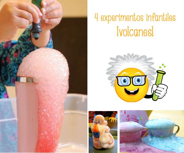 4 divertidos experimentos infantiles: ¡volcanes! Os proponemos 4 experimentos para niños divertidos y educativos: hacemos volcanes caseros.