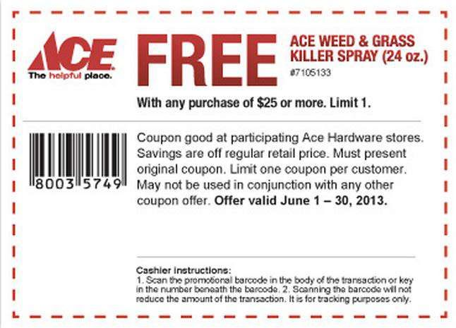 Free Ace Weed and Grass Killer Spray w/purchase of $25 or More [Exp. 06/30]