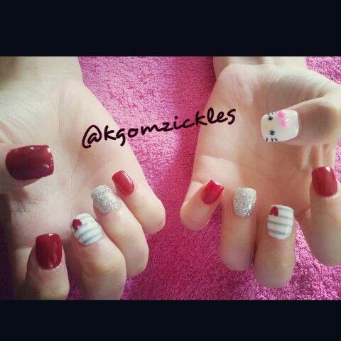 Red Hello Kitty nail design