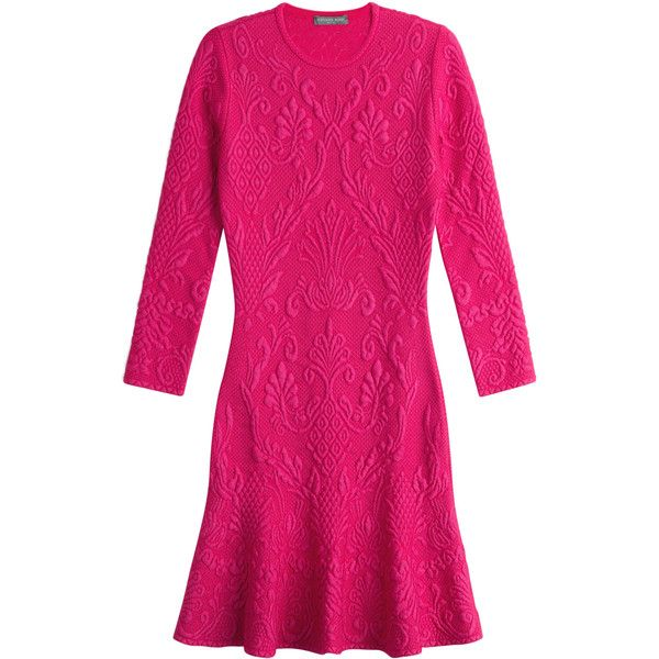 Alexander McQueen Stretch Dress (2,545 BAM) ❤ liked on Polyvore featuring dresses, pink, pattern dress, pink dress, fuchsia dress, fuschia pink dress and alexander mcqueen dresses