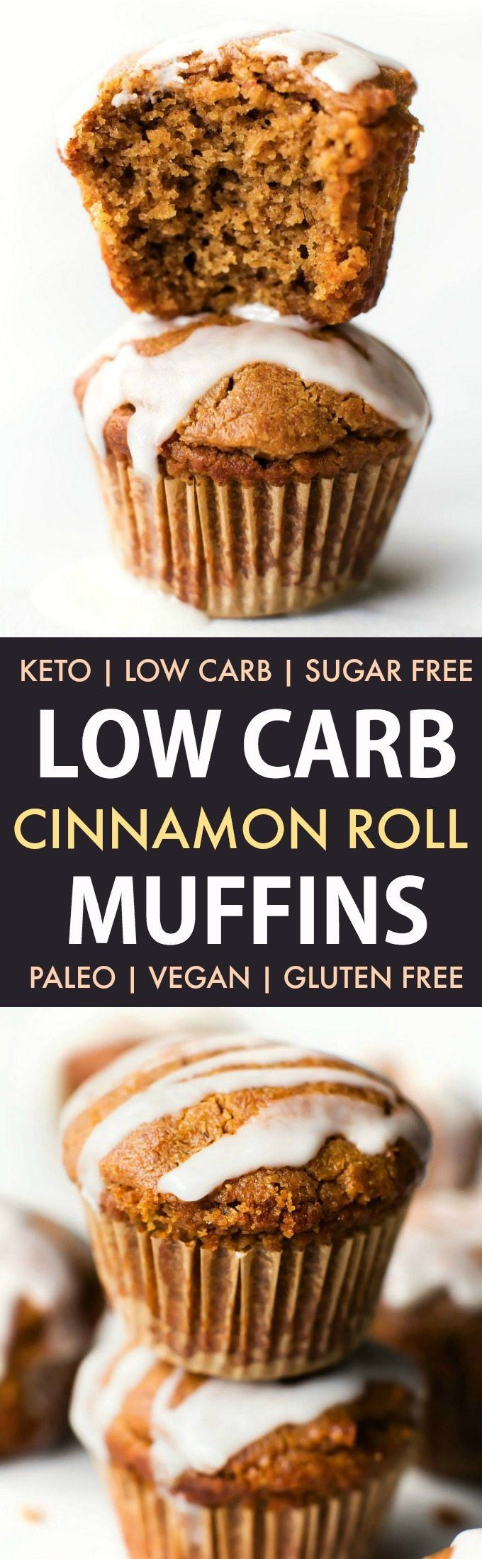 Low Carb Keto Cinnamon Roll Muffins (Paleo, Vegan, Sugar Free, Gluten Free)- A quick and easy recipe for fluffy bakery style high protein muffins tasting like a cinnamon roll- 6 ingredients, freezer-friendly and a healthy breakfast or snack! #ketobaking #