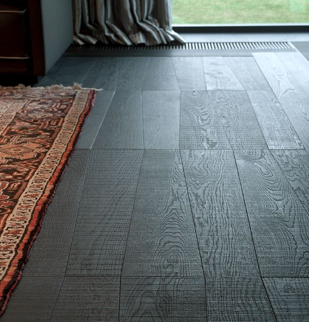 WOODlife Flooring: oak giant trapezium pattern with band saw look, finished 'DEEP Down Black'