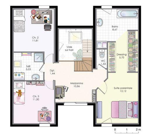 Plan habillé Etage - maison - Maison familiale 9