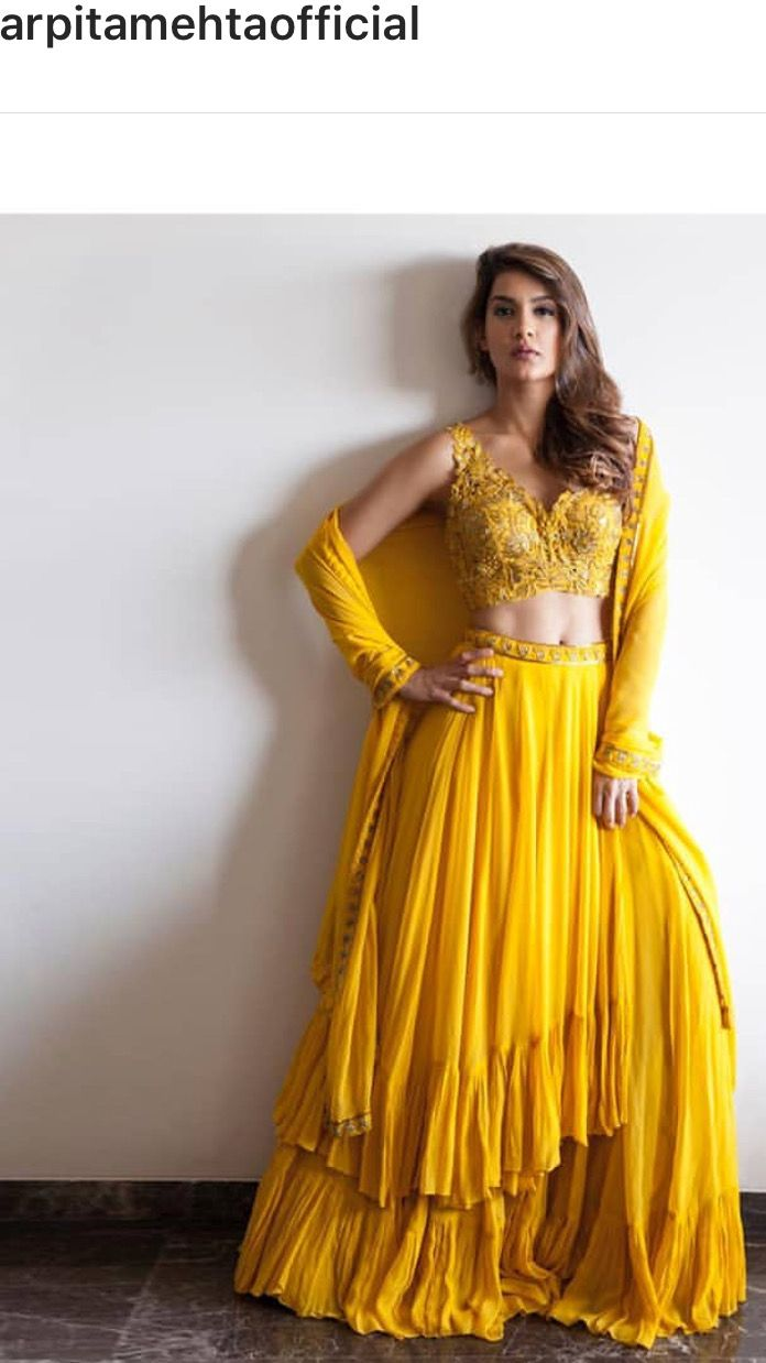 428a4f5449 Pinterest • @KrutiChevli | Lehenga, Dress & Saree in 2019 | Yellow ...