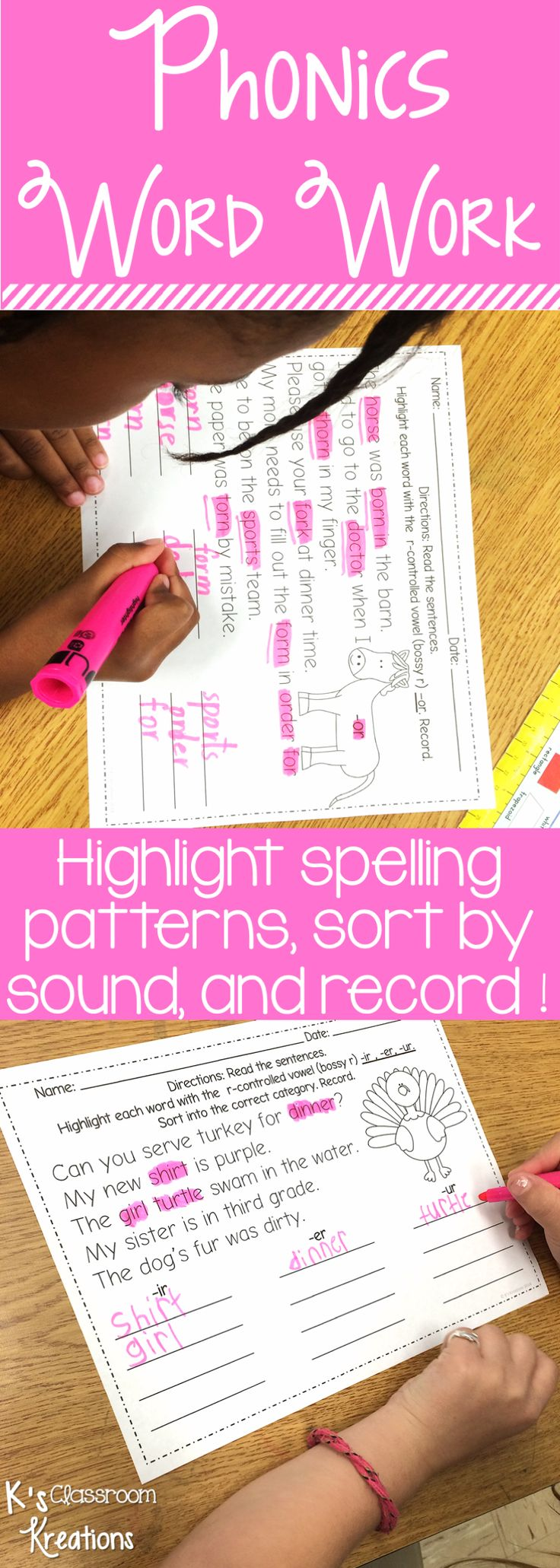 Bring excitement to your Kindergarten, first grade, and second grade phonics lessons by using highlighters and these engaging word work activities! Build phonemic awareness and decoding skills with these no-prep printables. Whether you're using these for interventions, small groups, literacy centers, or whole group instruction, students will love identifying and sorting spelling patterns within text.