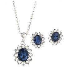 Lo nuevo de la flor sistemas de la joyería Luxuories collar llamativo Crystal Stud pendientes para para del partido de la joyería de plata(China (Mainland))