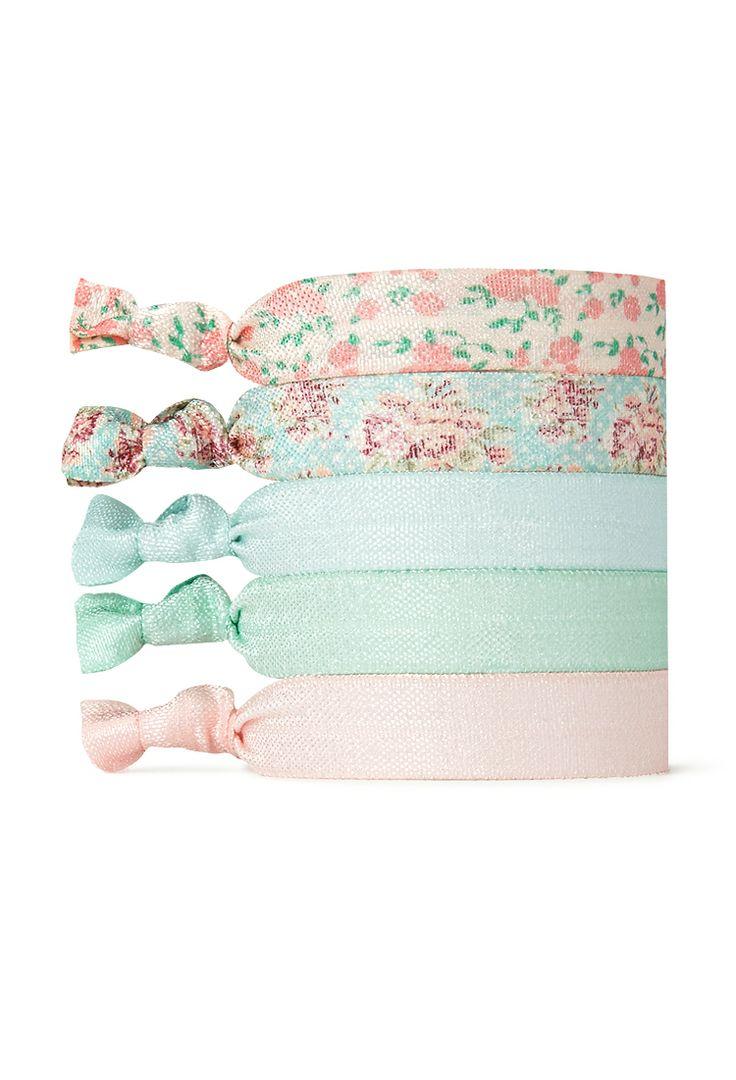Pastel Floral Hair Tie Set | FOREVER21 - 1000124590