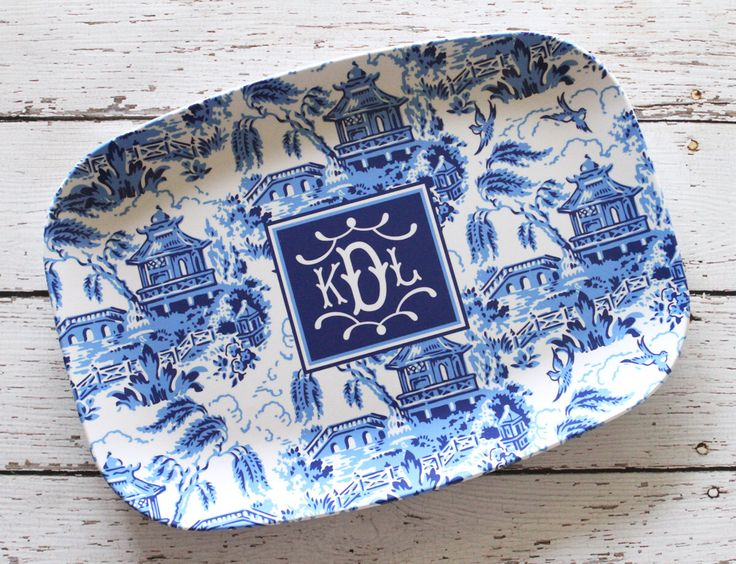 Monogrammed Chinoiserie Pagoda Platter [SIX color options] by panazze on Etsy https://www.etsy.com/listing/482591787/monogrammed-chinoiserie-pagoda-platter
