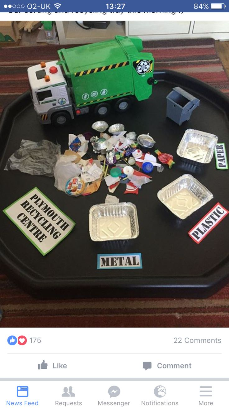 "Real (Clean) Recycle Sort- Materials: Used (but clean) trash, 3 containers labeled ""metal"", ""plastic"", and ""paper"". Discuss with children the importance of recycling and why trash must be sorted before being recycled. Have children help you sort out the pile of ""trash"" into the correct bins."