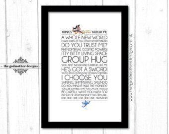 Disney typografie Print woorden Quotes & door TheGodmotherDesigns