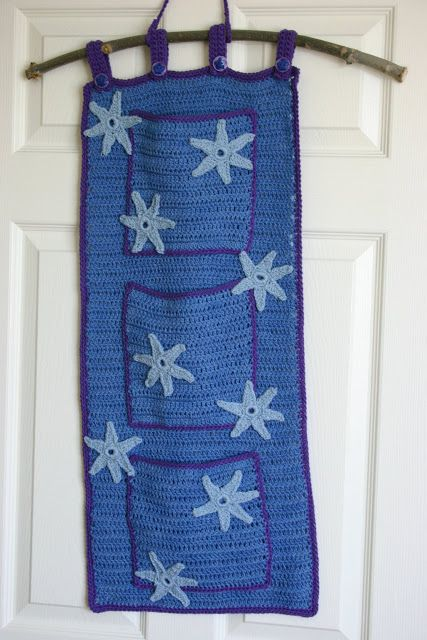 Crocheted wall hanging out of mercerized cotton