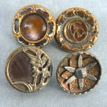 Small antique and vintage metal buttons