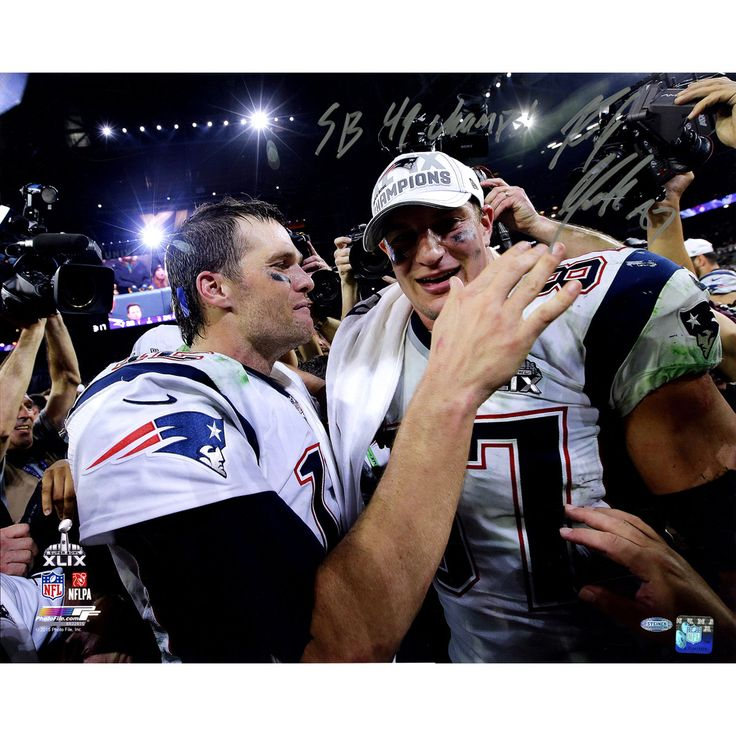 Rob Gronkowski Signed Action 2015 SB 49 16x20 Photo with Tom Brady w SB 49 ChampsInsc. - This 16x20 has been personally hand-signed by Football star and Patriots Tight End Rob Gronkowski.Inscribed SB 49 Champs100% Guaranteed AuthenticIncludes Steiner Sports Certificate of Authenticity Features Tamper-Evident Steiner Hologram. Gifts > Collectibles > Nfl Memorabilia. Weight: 1.00