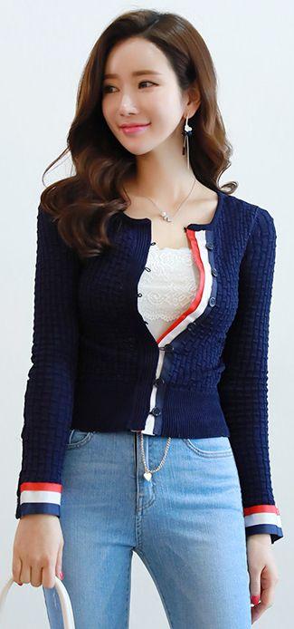StyleOnme_Three Color Stripe Trim Slim Fit Cardigan #navy #spring #feminine #dailylook #koreanfashion #kstyle #kfashion #seoul