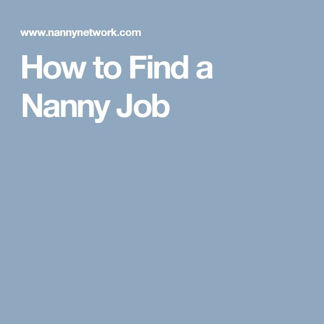 How to Find a Nanny Job