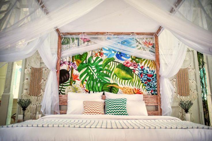 Hand oil painted back of bed by Kirana Putri Kusnadi & friends at Villa Atap Putih - by soobalivillas in Seminyak